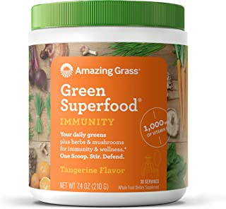 product image for Amazing Grass Green Superfood Immunity: Super Greens Powder with Vitamin C, Cordyceps & Reishi Mushrooms, Tangerine, 30 Servings