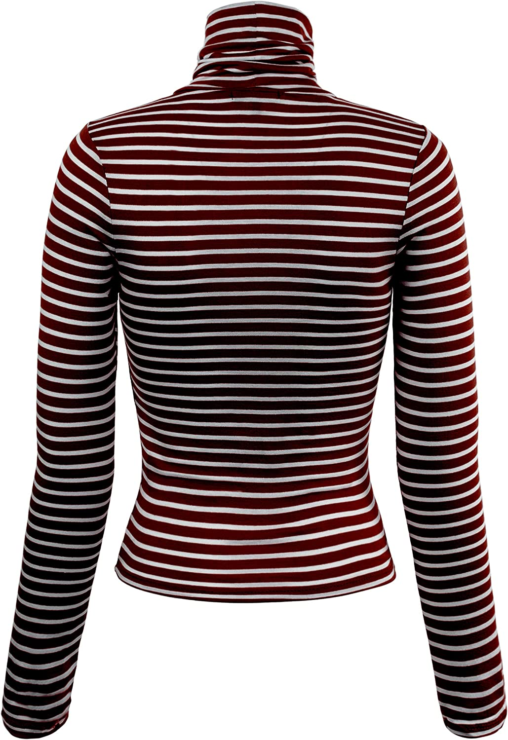 MixMatchy Womens Solid Tight Fit Lightweight Solid//Stripe Long Sleeves Turtle Neck Top