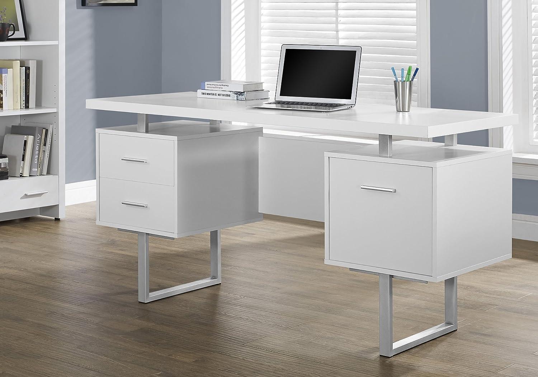 Monarch Specialties White Hollow-Core Silver Metal Office Desk, 60-Inch