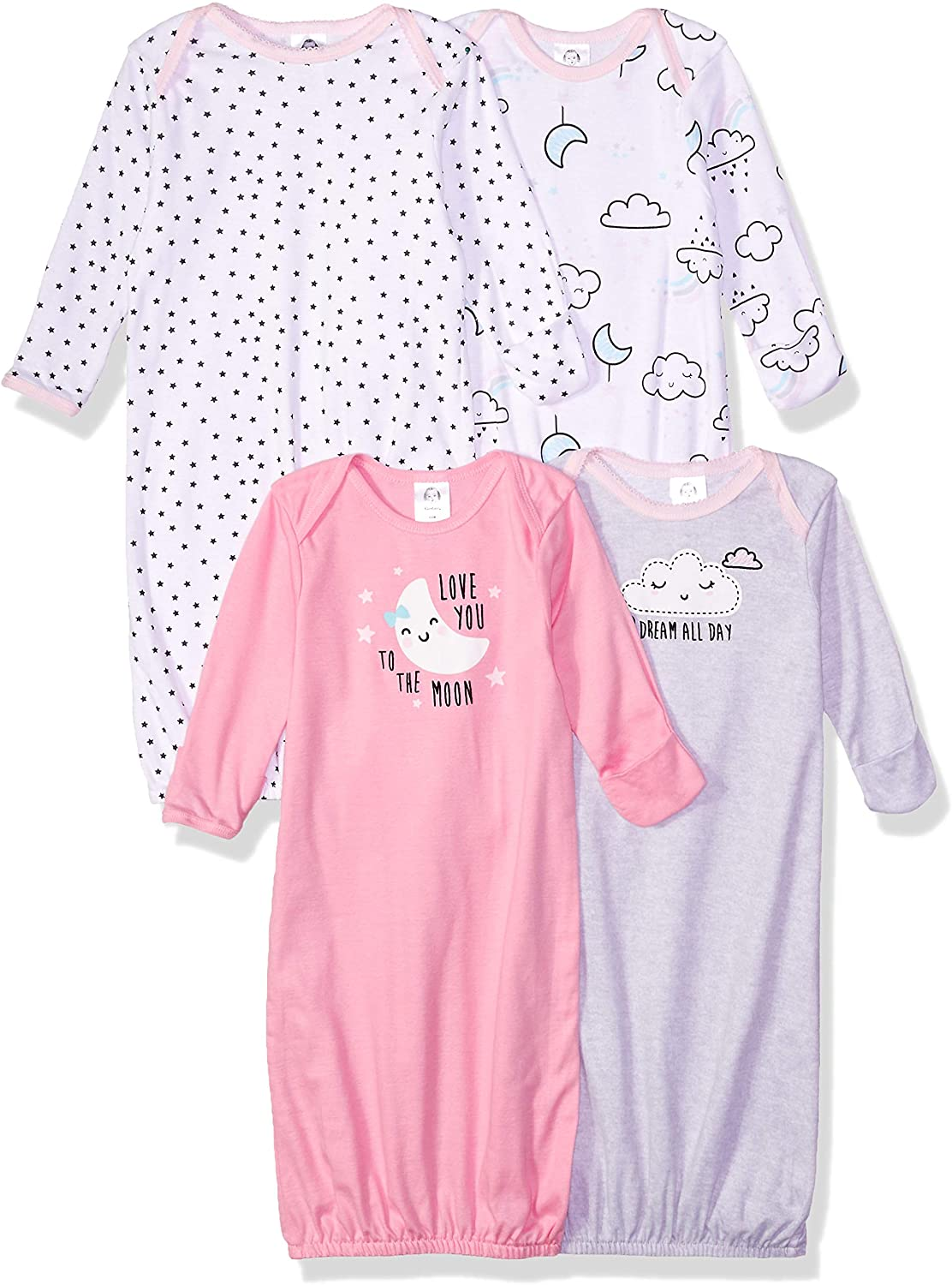 Gerber Baby Girls' 4 Pack Gowns
