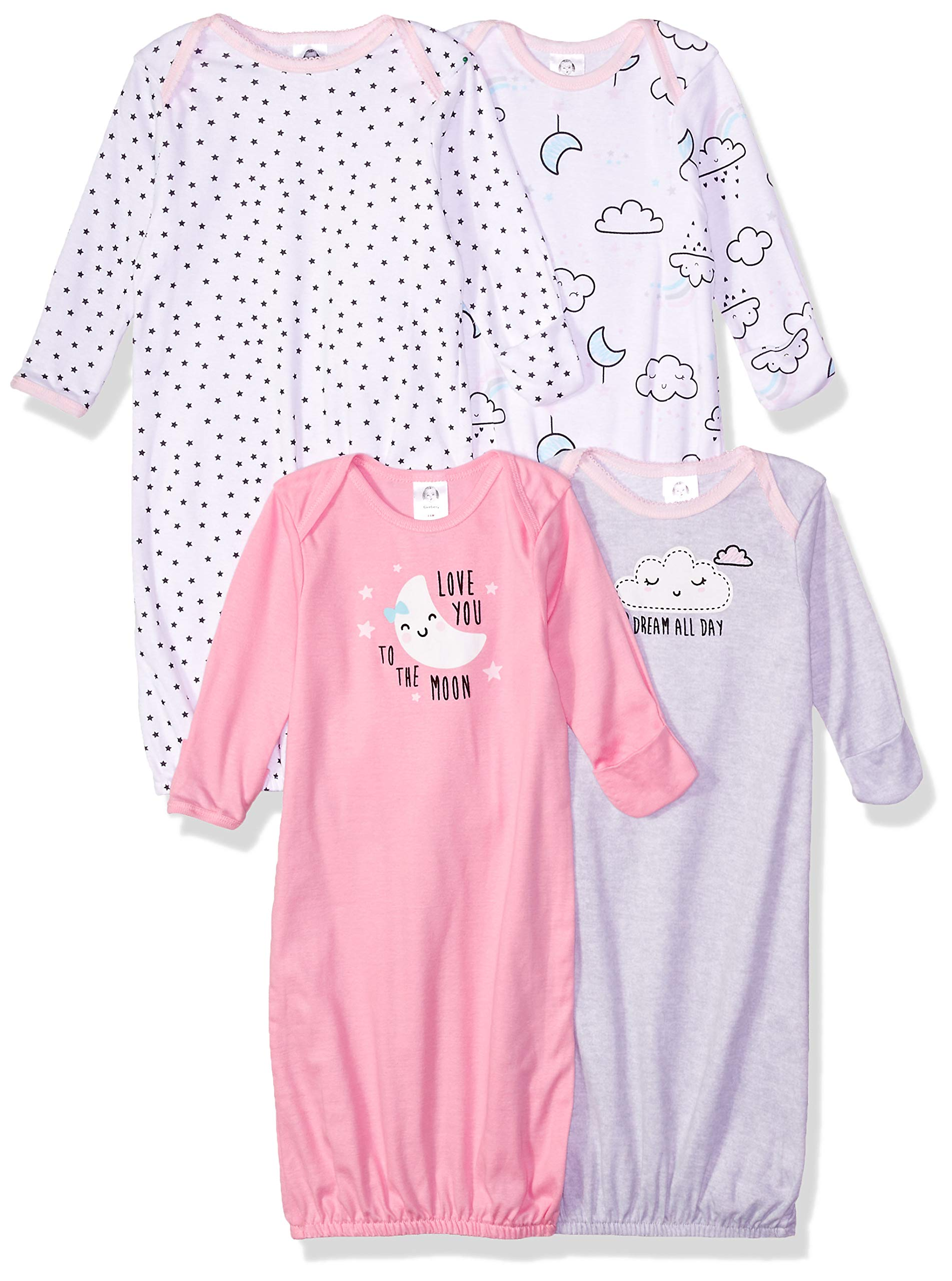 Gerber Baby Girls' 4-Pack Gown, Clouds, 0-6 Months