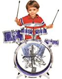 BIG BAND CHILDRENS RED BLUE ROCKSTAR DRUMS PLAY SET MUSICAL SOUND PERCUSSION TOY WITH STOOL (BLUE)
