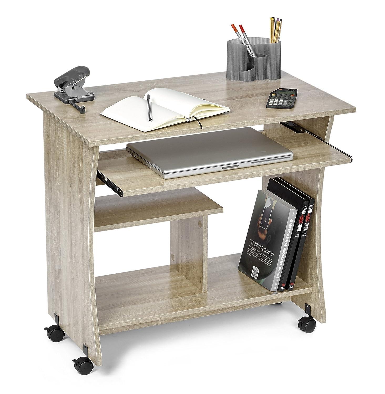 ts-ideen Tavolino da Computer Desktop Scrivania con porta tastiera e ripiano per Monitor