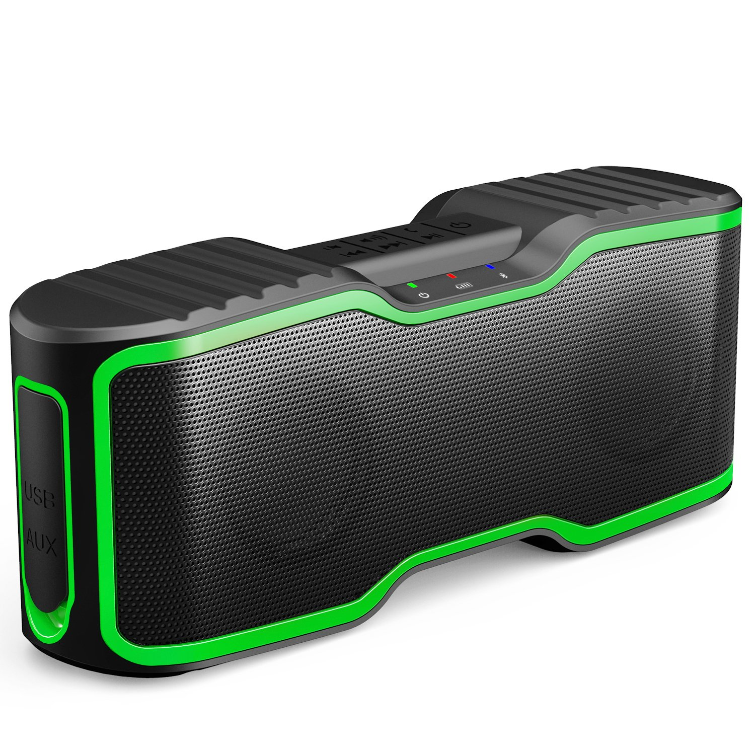 AOMAIS Sport II Portable Wireless Bluetooth Speakers 4.0 Waterproof IPX7, 20W Bass Sound, Stereo Pairing, Durable Design Backyard, Outdoors, Travel, Pool, Home Party (Green)
