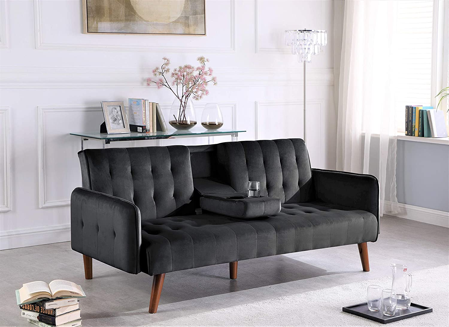Black Container Furniture Direct Cricklade Convertible Sofa Bed