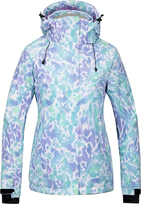 Wantdo Giacca da Sci con Cappuccio Parka da Neve Modellato Calda Imbottita Cappotto da Montagna Antivento Giubbotto da Viaggio Invernale Donna