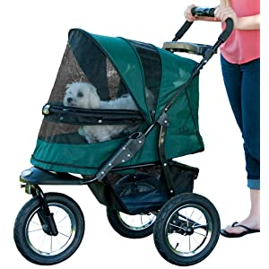 Pet Gear No-Zip Jogger Pet Stroller for Cats/Dogs Zipperless Entry Easy One-Hand Fold Air Tires Cup Holder + Storage Basket