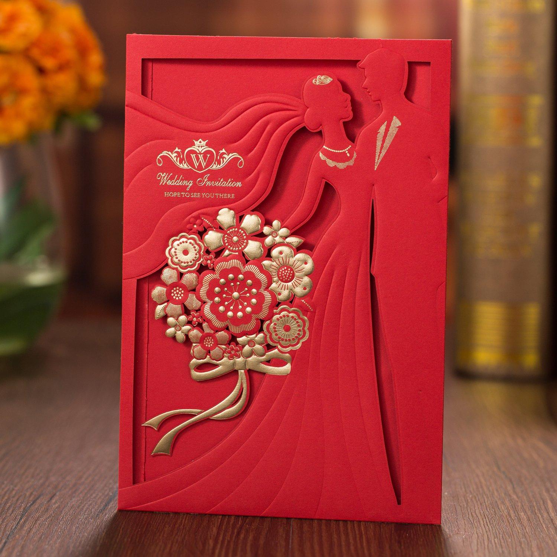 Amazon.com: 50PCS Laser Cut Bronzing Wedding Invitation Cards Hollow ...