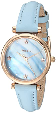 97e3c2ec6067 Fossil Women s Mini Carlie Stainless Steel Quartz Watch with Leather Strap