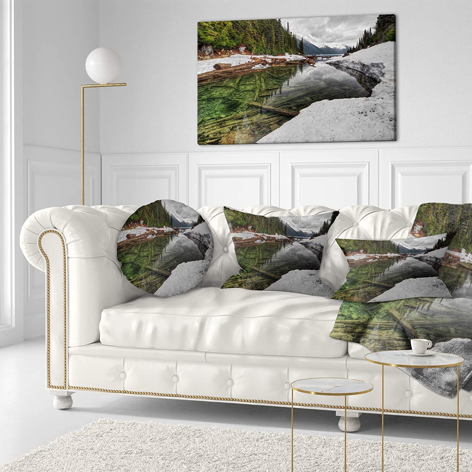 Designart Cu14409 12 20 Crystal Clear Lake With Pine Trees Landscape Printed Lumbar Cushion Cover For Living Room X 20 In In Sofa Throw Pillow 12 In
