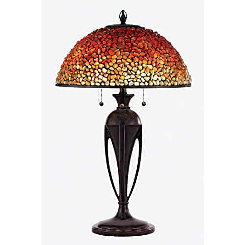 Quoizel TF135TBC Pomez Tiffany Table Lamp Lighting, 3-Light, 225 Watts, Burnt Cinnamon 29 H x 19 W