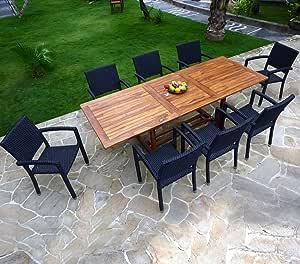 Salón de jardín (resina trenzada y teca barnizada), 8 plazas – mesa + 8 sillones: Amazon.es: Jardín