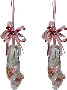 Party Explosions Translucent Ballet Pointe Shoes with Roses Hanging Christmas Ornaments - Set of 2