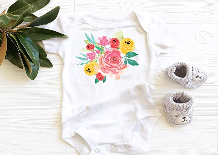 Amazon pink and yellow floral onesie baby girl onesie baby pink and yellow floral onesie baby girl onesie baby bodysuit onesie baby mightylinksfo