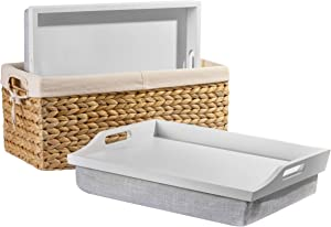 Rossie Home Wood Lap Trays with Basket Set - Soft White - Style No. 70101