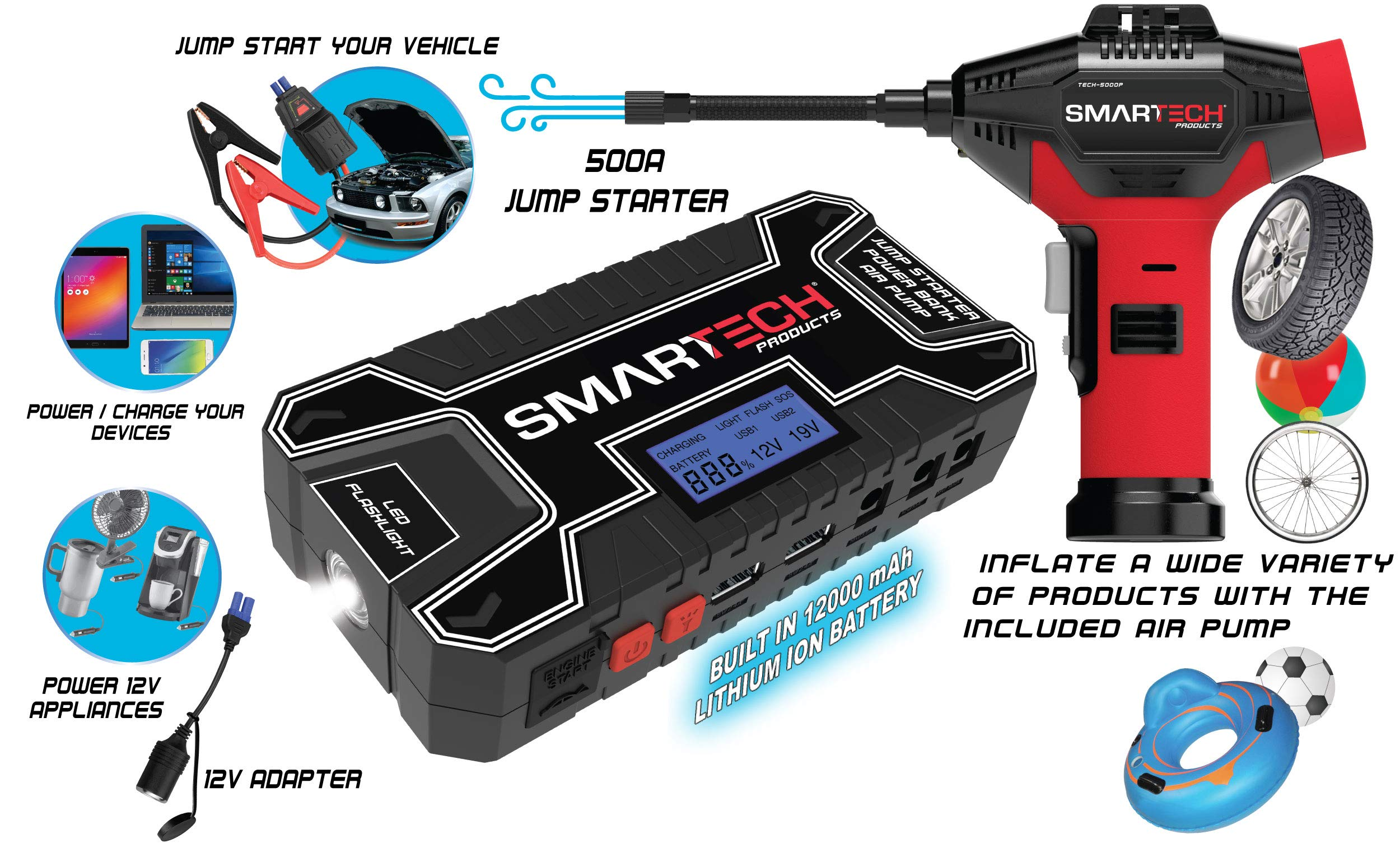 Smartech Power Kit Portable Jump Starter Power Bank Air Pump Tire inflator Air Compressor by Smartech Products (Image #3)