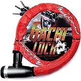 (ムジナ) mujina バイクロック φ(直径)22mm×1200mm 盗難防止 鍵3本セット 保証付 ワイヤーロック ガチロック (レッド)