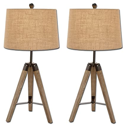Amazon Com Urban Designs Weathered Wooden Tripod Table Lamps Set