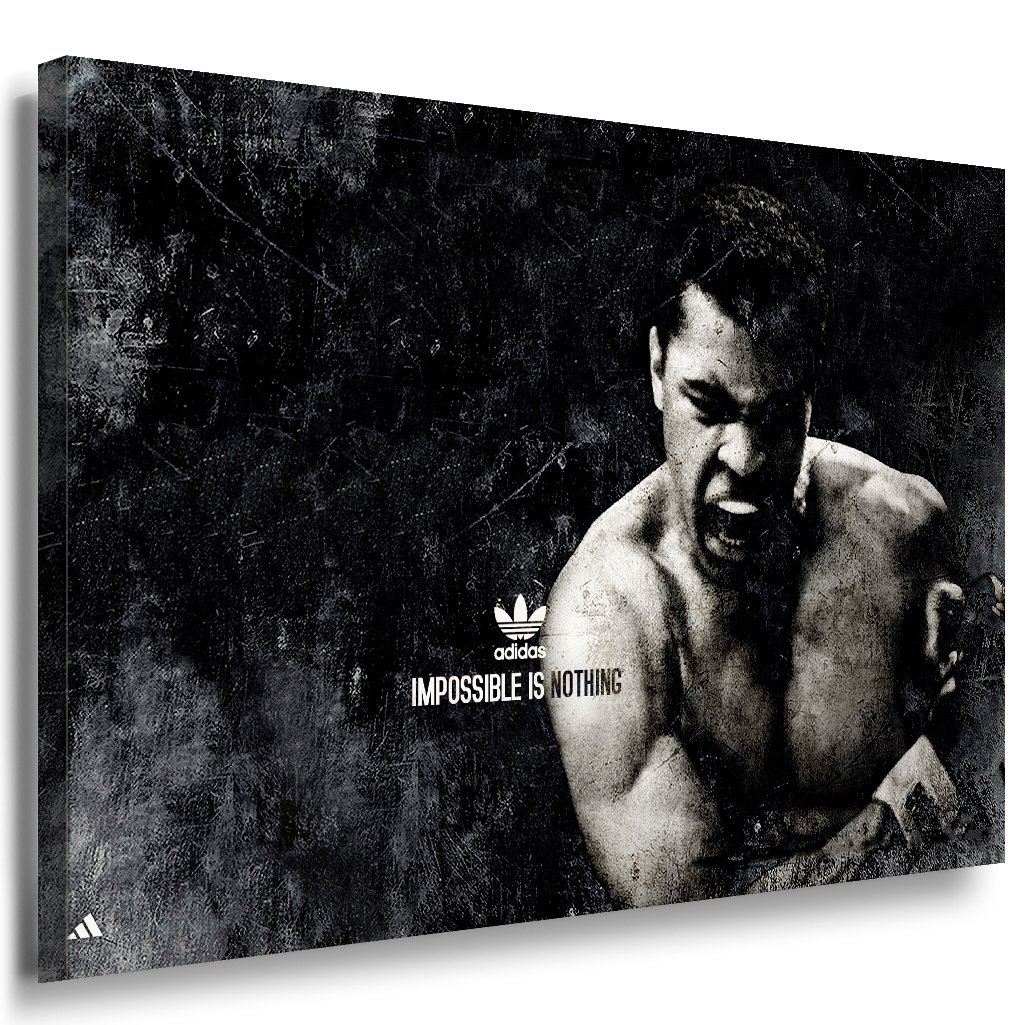 Mohamed Ali Leinwandbild LaraArt Bilder Schwarz Weiß Wandbild 150 x 100 cm