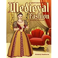 Adult Coloring Books Medieval Fashion: Life Escapes Adult Coloring Books 48 grayscale coloring pages of clothing styles for men and women of the Medieval Era