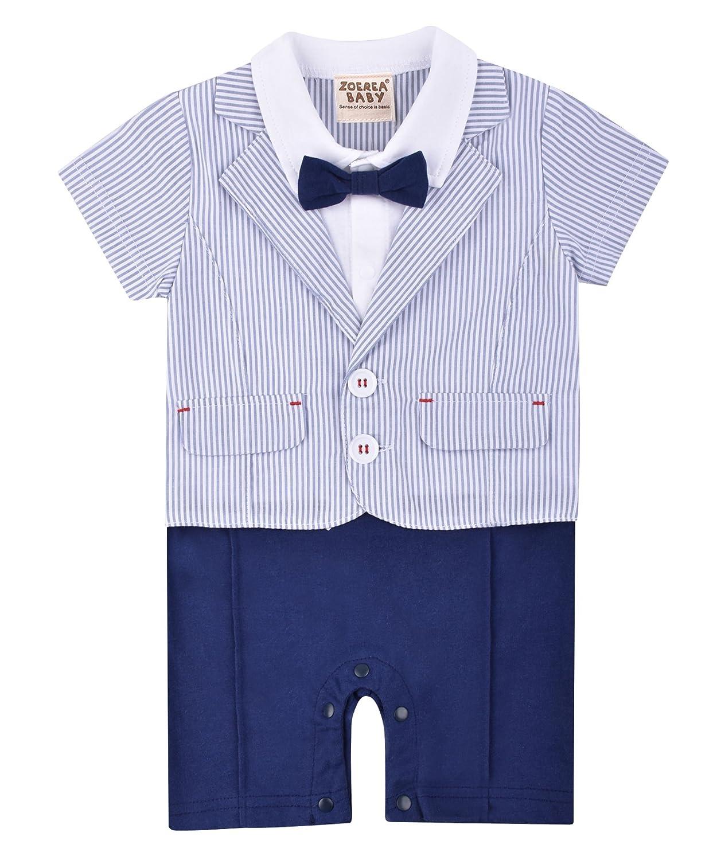 ZOEREA vestiti battesimo bambino neonati bambini gentleman infantile tutine complessivi Estate abiti di cotone a manica corta Camicia pagliaccetto abito da sposa del bambino YS2415