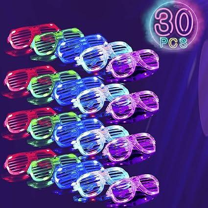 1-96 Flashing LED Shutter Glasses Light Up Slotted Party Glow Shades Wholesale