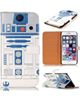 R2D2 Robot Pattern Slim Wallet Card Flip Stand PU Leather Pouch Case Cover For 2014 Apple iphone 6 4.7 inch