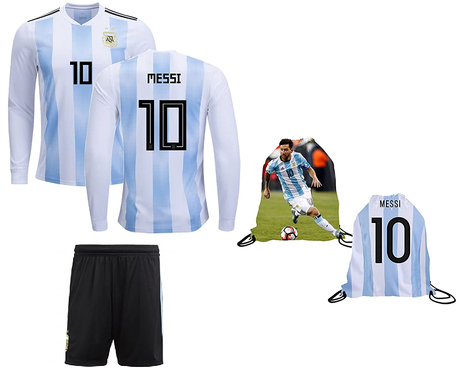 ea09ac841 AFA Messi Jersey Argentina Home Long Sleeve Kids Lionel Messi Jersey Soccer  Gift Set Youth Sizes ✓ Premium Quality ✓ Soccer Backpack Gift Packaging