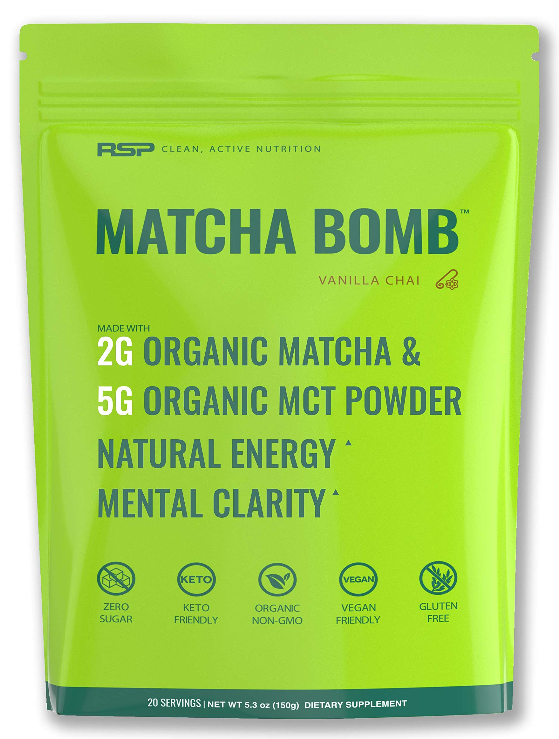 RSP Matcha Bomb (150g) - Organic Matcha Green Tea Powder with MCTs for Natural Energy and Clarity, Non-GMO, Keto Friendly, Vegan Friendly, Gluten Free, Vanilla Chai (20 Servings) by RSP Nutrition