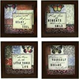 Indianara 4 Piece Set Of Framed Wall Hanging Inspirational Quotes
