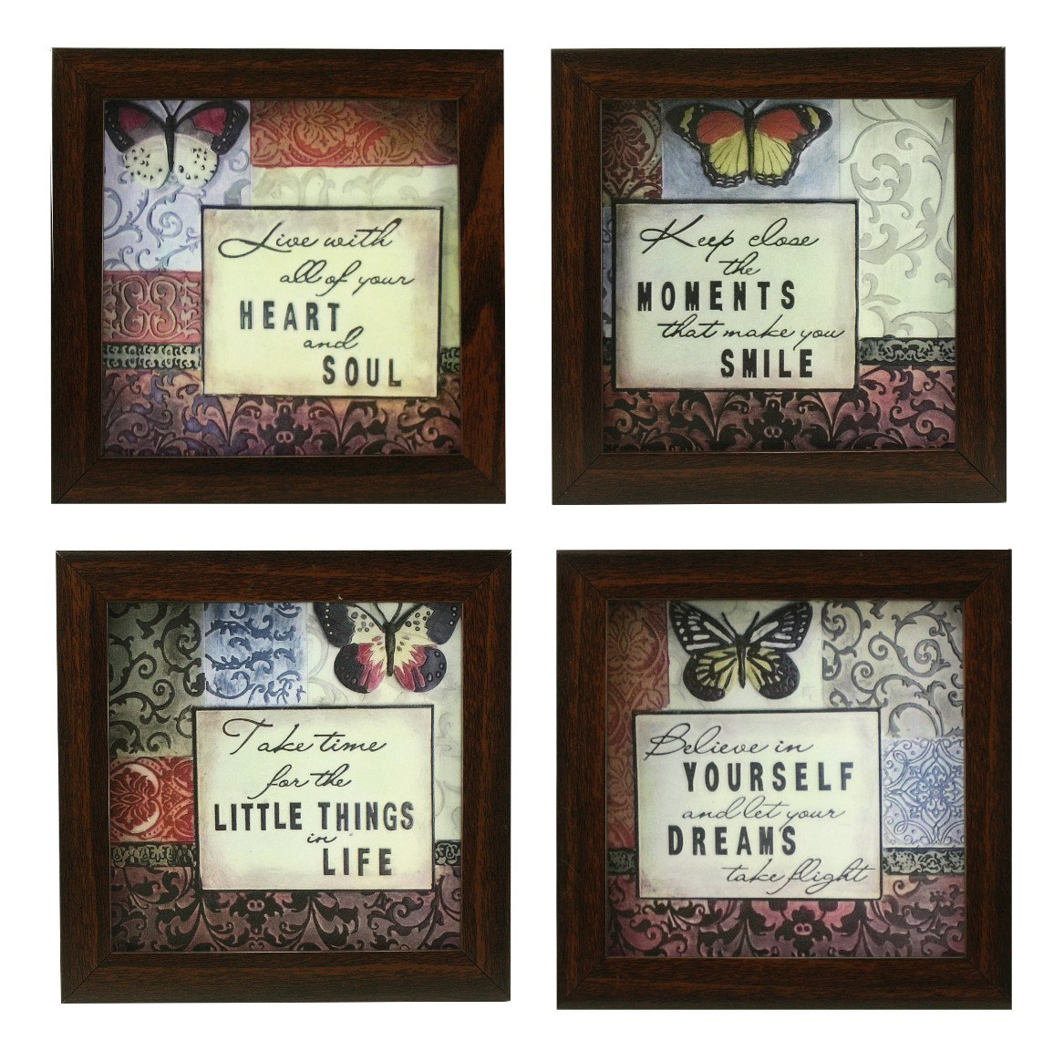 4 PIECE SET OF FRAMED WALL HANGING INSPIRATIONAL QUOTES