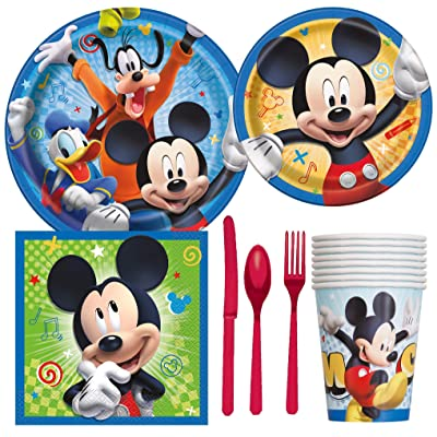 Disney Mickey Mouse Birthday Party Supplies Pack Including Cake & Lunch Plates, Cutlery, Cups, Napkins (8 Guests): Toys & Games