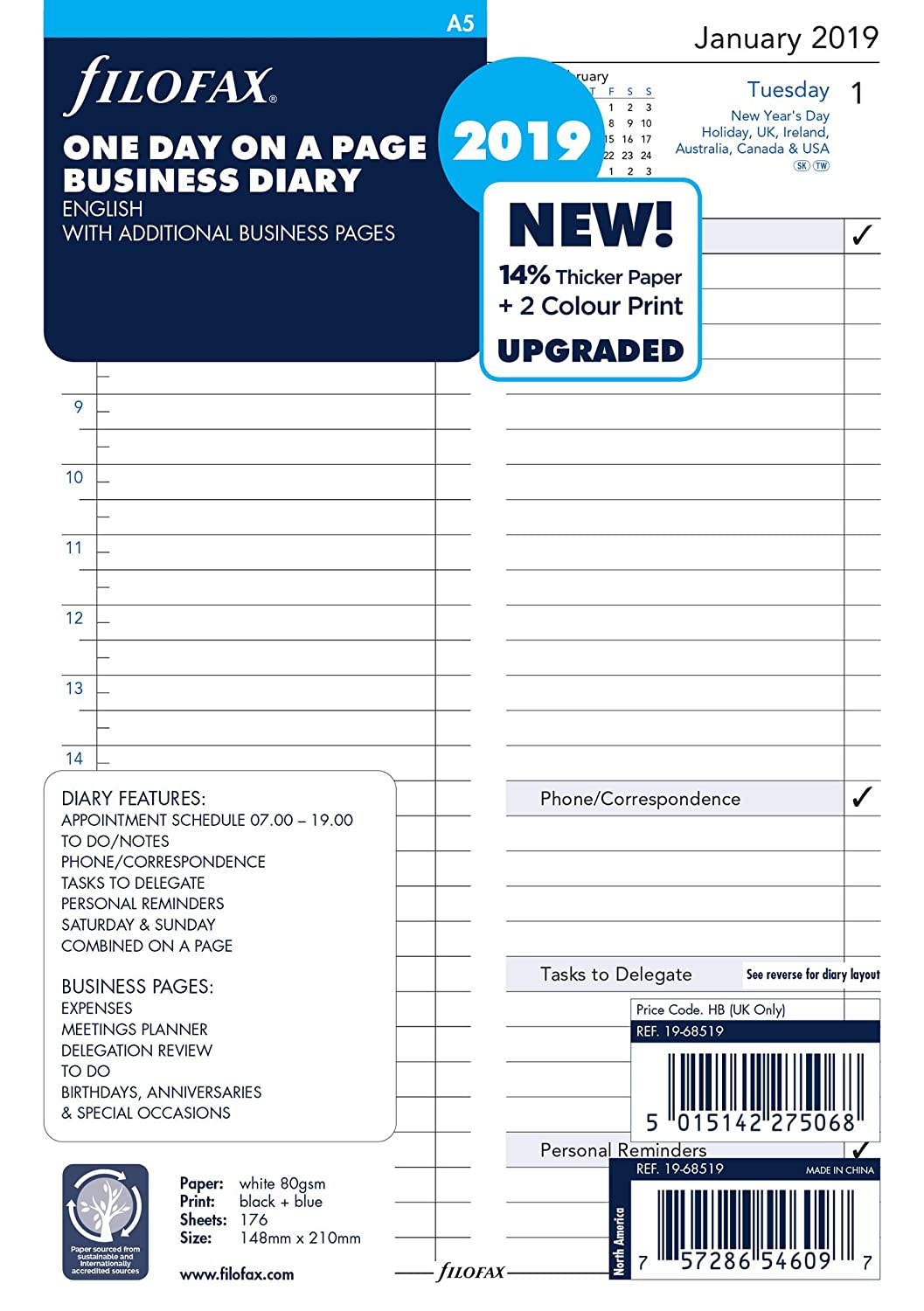 Filofax 19-68519 A5 Business Day per Page Appointments 2019 Diary