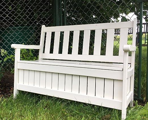 Alta calidad Estable Cojín Caja Banco de madera con baúl, color blanco, B114 X T56 X H89 cm: Amazon.es: Jardín
