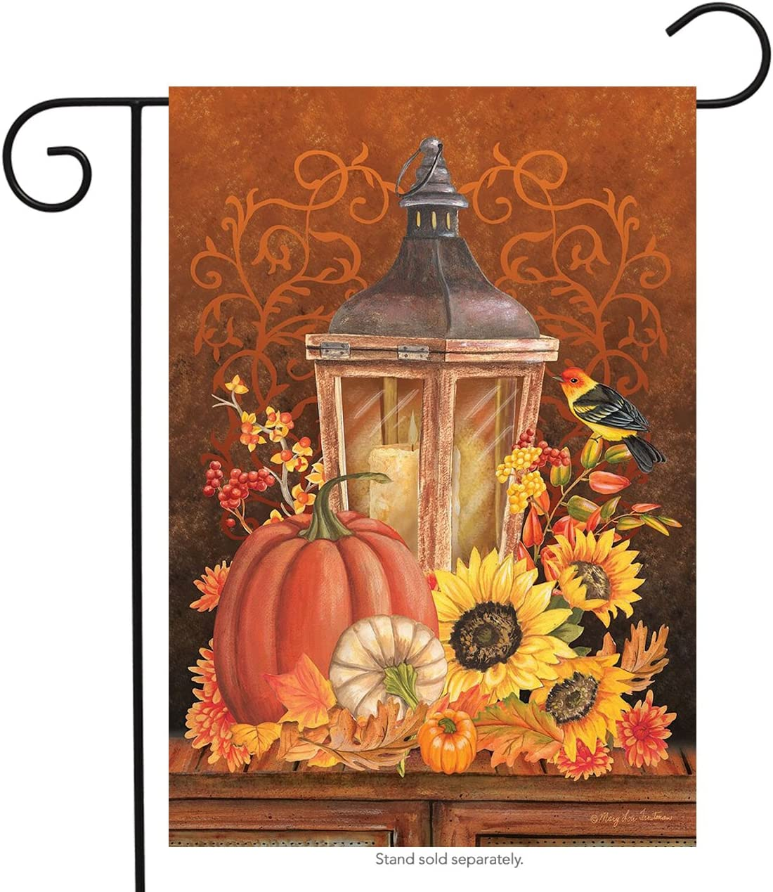 "Briarwood Lane Fall Lantern Primitive Garden Flag Pumpkins Sunflower 12.5"" x 18"""