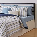 Amazon Basics 10-Piece Bed-in-a-Bag - Soft, Easy-Wash Microfiber - Full/Queen, Blue and Tan Stripe
