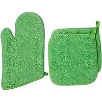 Lifaith 100% Cotton Everyday Kitchen Basic Heat Resistant Oven Mitt and Pot Holder Set, Apple Green