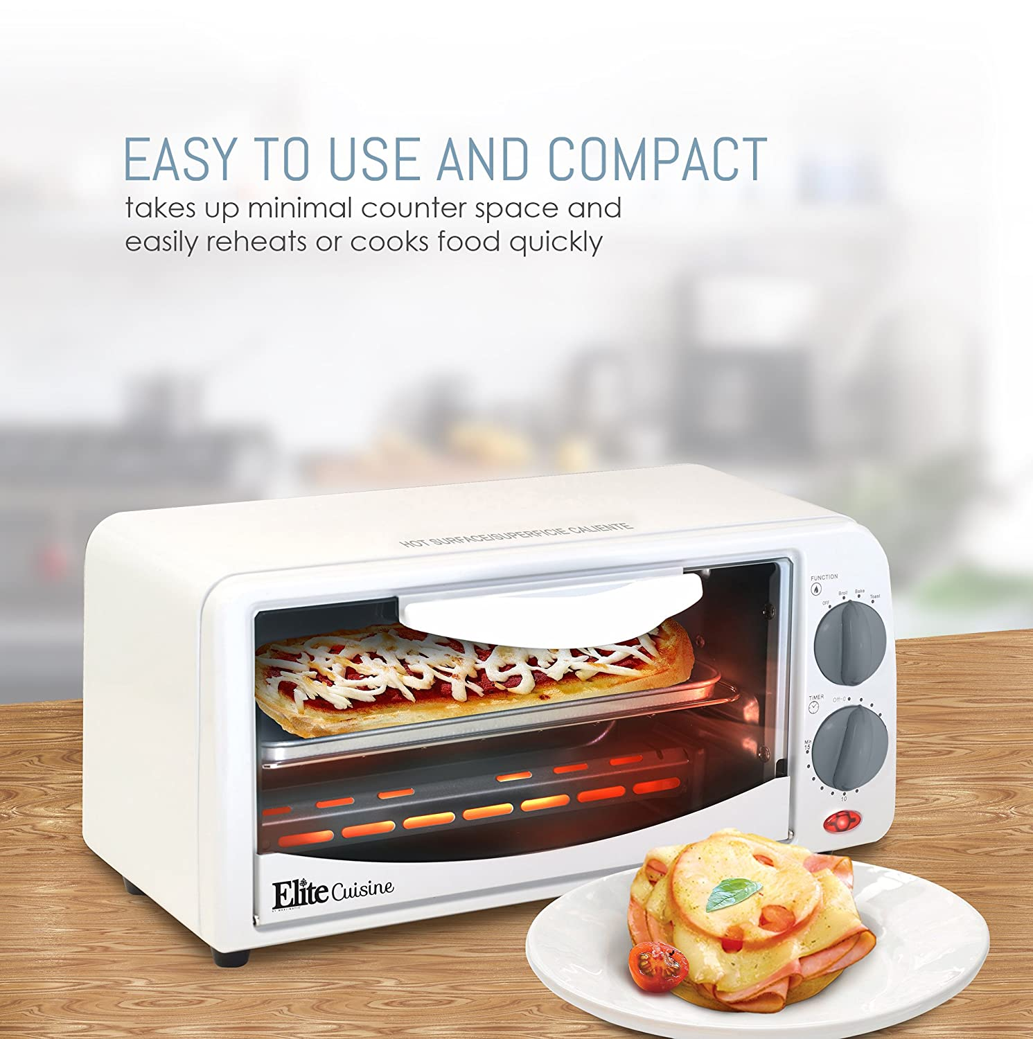 ETO 113 Elite Cuisine Maxi Matic 2 Slice Toaster Oven With 15 Minute Timer