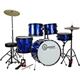 Drum Set Full Size Adult 5-piece Complete Metallic Blue with Cymbals Stands Stool Sticks