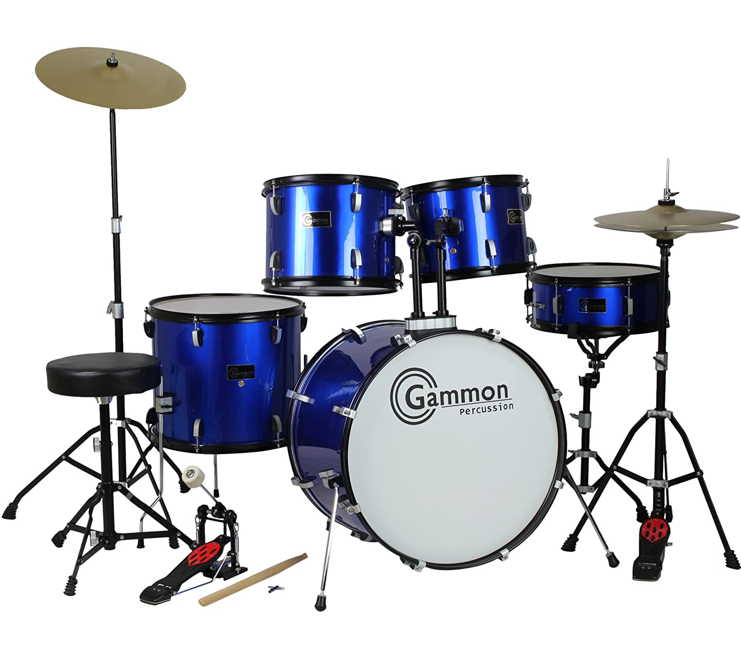 Drum Set Full Size Adult 5-piece Complete Metallic Blue with Cymbals Stands Stool Sticks Gammon Percussion MDWJ7BLUE