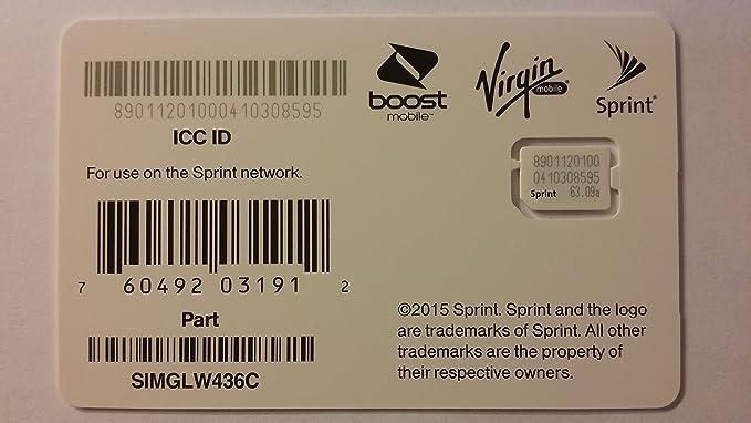 SIMGLW436C Sprint Boost Virgin Ting RingPlus Nano SIM ICCID