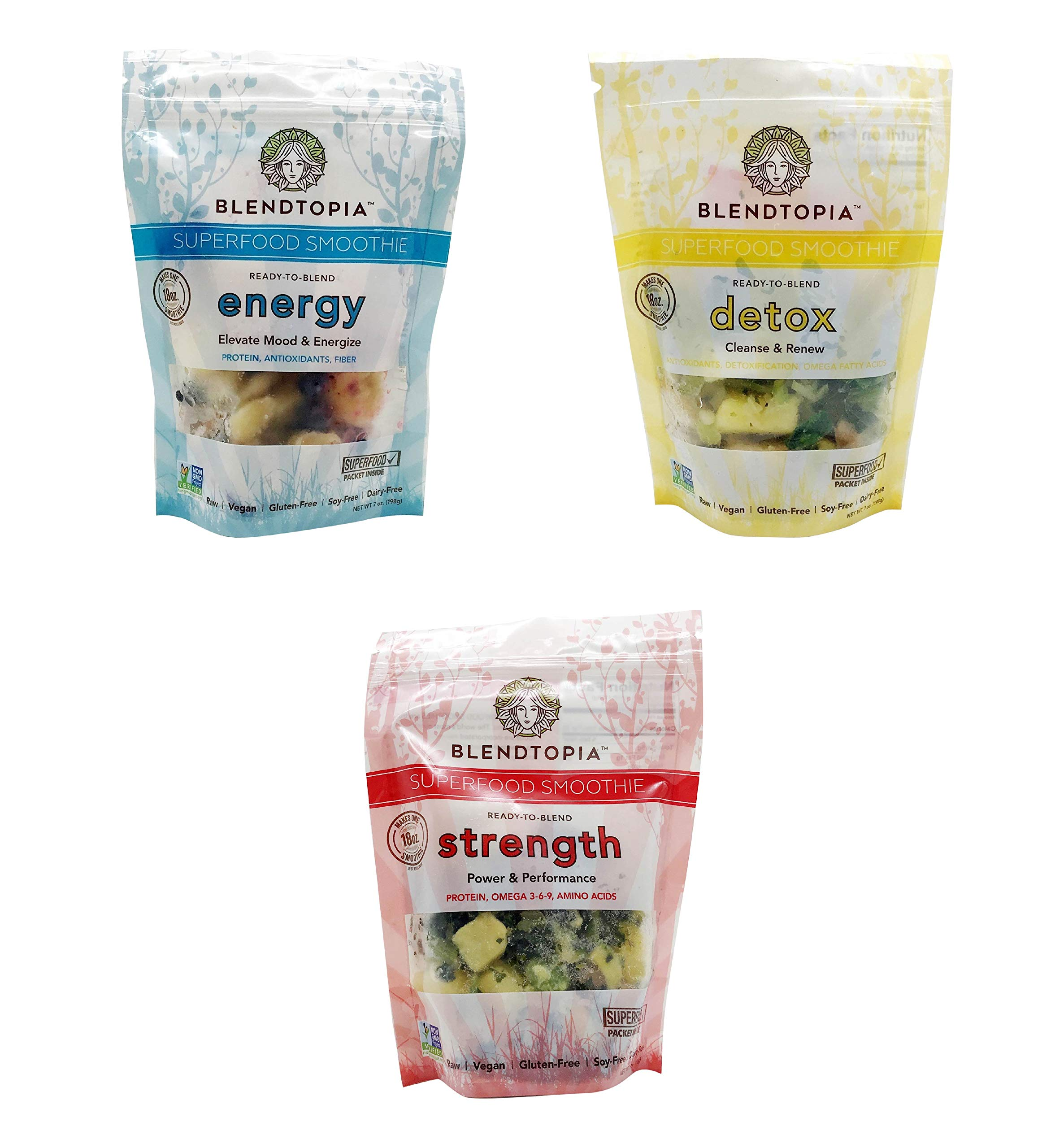 Blendtopia Superfood Smoothie Mix Variety Pack (3 Pack)