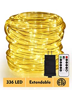 ECOWHO LED Rope Lights, 72 ft 336 LED 8 Modes, Connectable, Waterproof Rope String Lights Outdoor Indoor Plug in for Bedroom Decor, Patio, Christmas Tree, Garden, Party, Pool (Warm White)