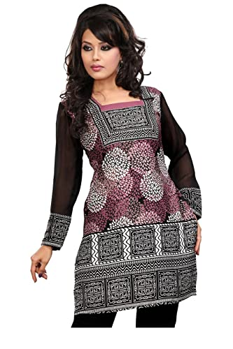 MapleClothing Indian Top Túnica para Mujer Kurti Impreso Blusa India Ropa
