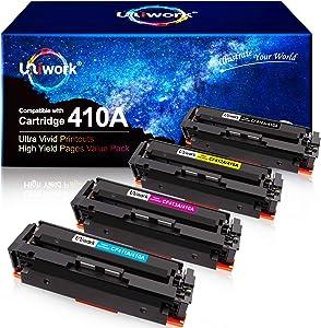 Uniwork Compatible Toner Cartridge Replacement for HP 410A CF410A CF411A CF412A CF413A to use for Color Laserjet Pro MFP M477fdw M477fdn M477fnw Pro M452dn M452nw M452dw Printer Toner (4 Pack)