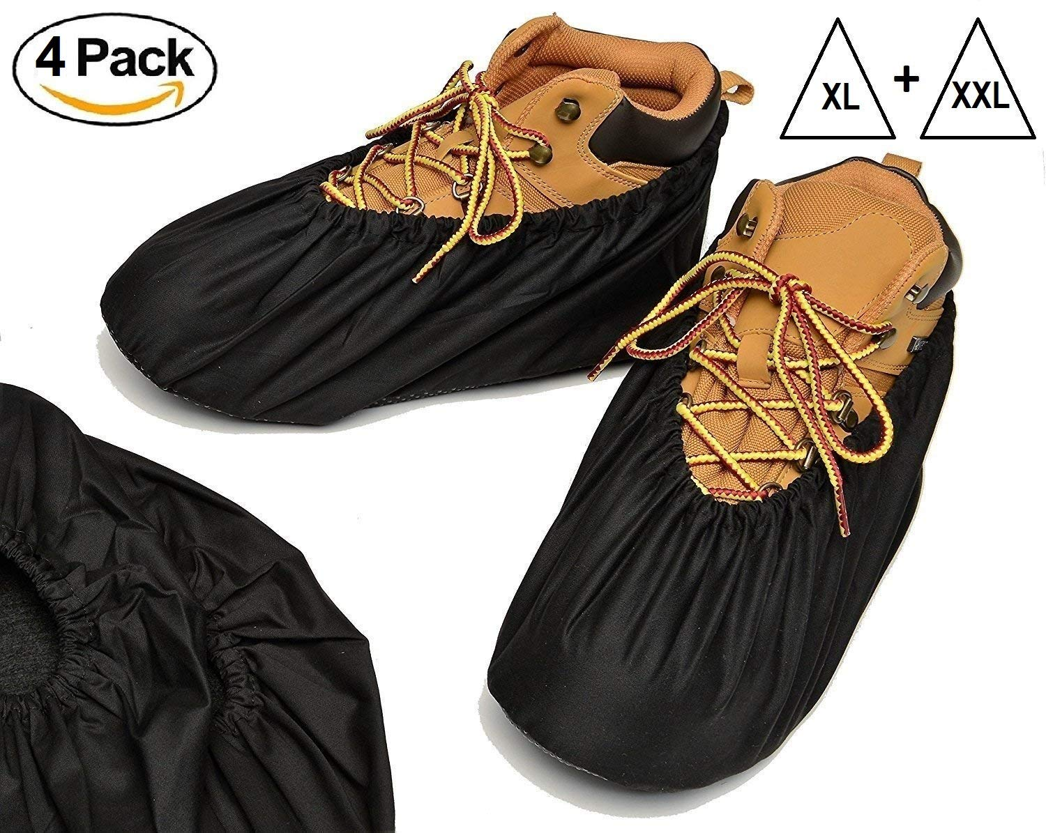 Reusable Boot and Shoe Covers - Premium Booties for Contractors Non Slip Washable | Large and Extra Large in Black (4 Pack X-Large and XX-Large)