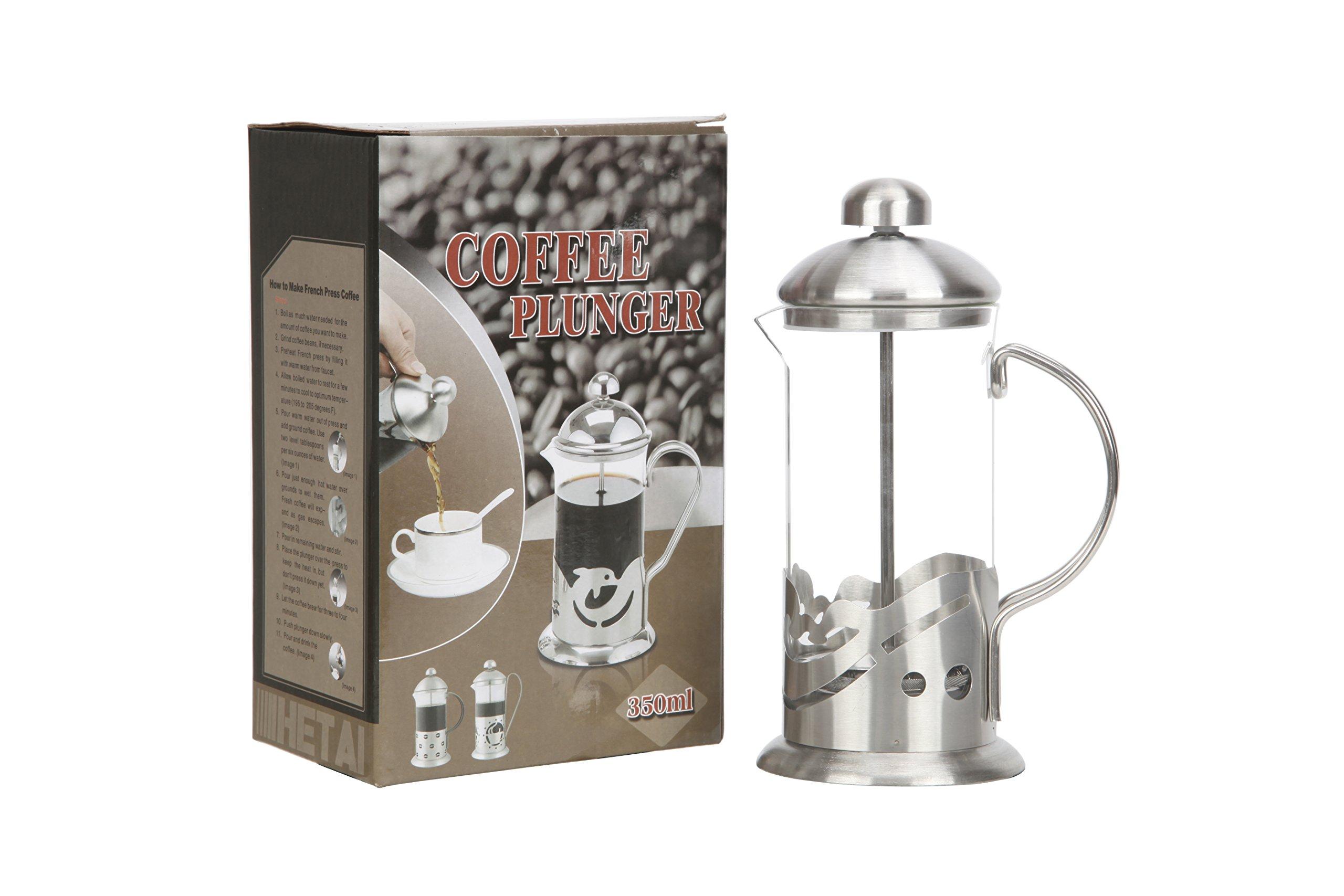 French Press Coffee Tea Maker Glass Stainless Steel Mini French Press Best Camping Coffee Press Pot Heat-Resistant Coffee Press 12 oz(350ML)