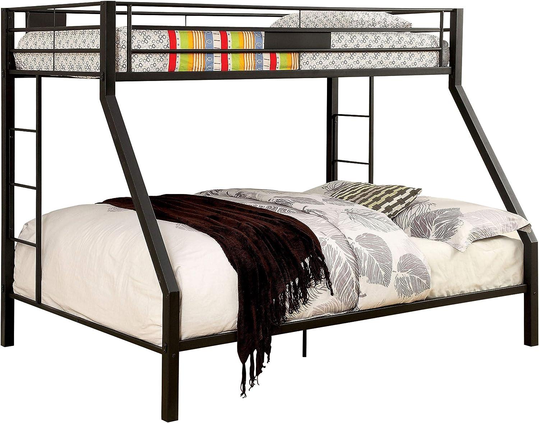 Amazon Com Furniture Of America Mallina Contemporary Black Metal Bunk Bed Twin Xl Home Kitchen