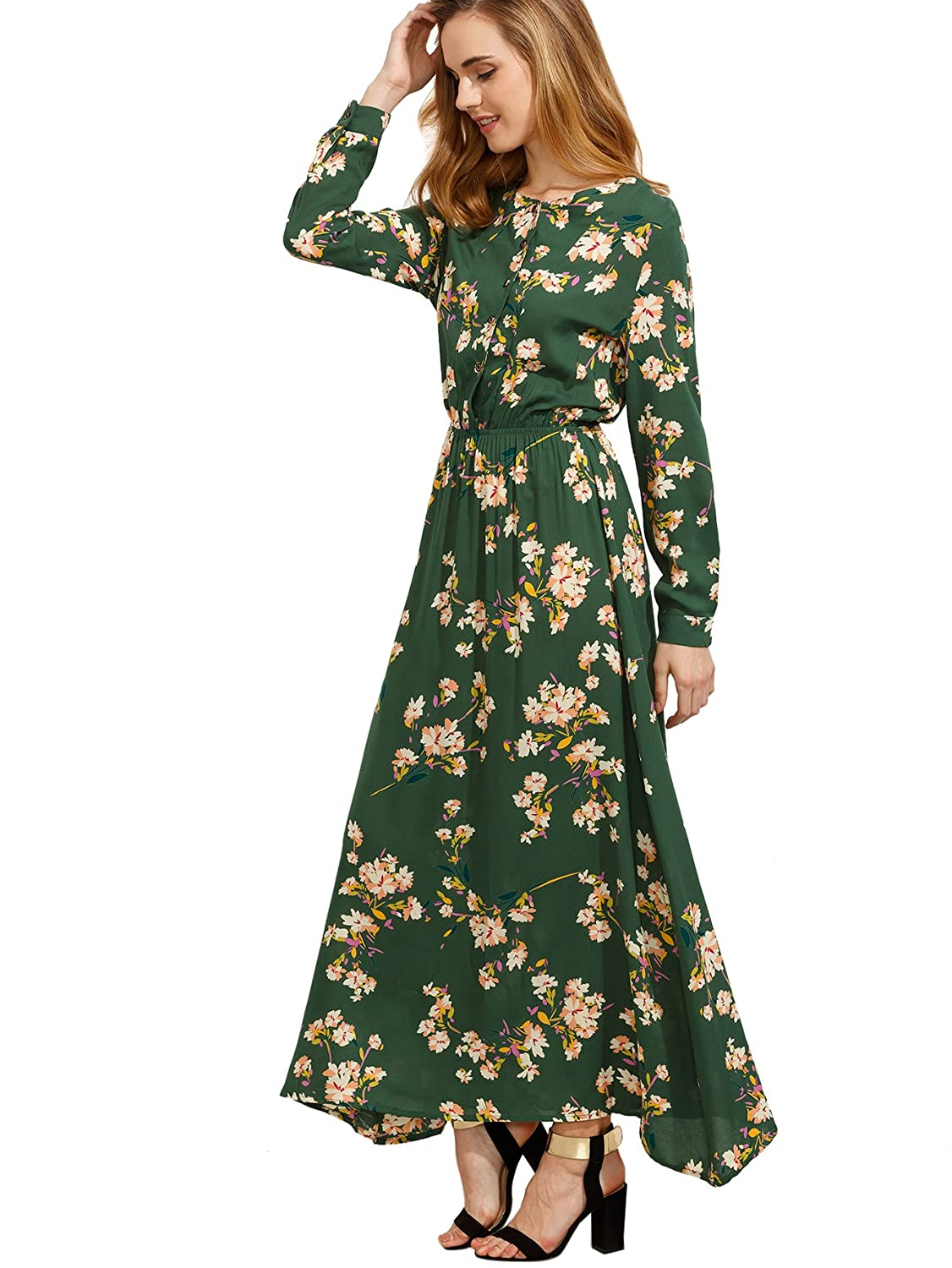 Vintage Tea Dresses, Floral Tea Dresses, Tea Length Dresses Floerns Womens Long Sleeve Floral Print Button Casual Maxi Dress $39.99 AT vintagedancer.com
