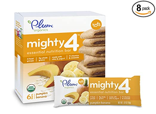 Plum Organics Mighty 4 Essential Nutrition Bar, Pumpkin Banana, 0.67 Oz Bars, 6 Count (Pack of 8)